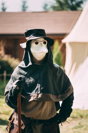 plague: Minsk, Belarus - JULY 19, 2014: Plague doctor - participant of festival of medieval culture
