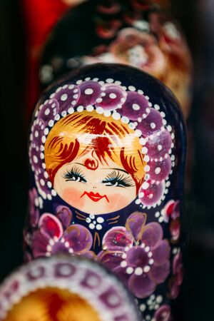 babushka: Colorful Russian Nesting Doll Matreshka At Market. Matrioshka Babushka Are Most Popular Souvenir From Russia.