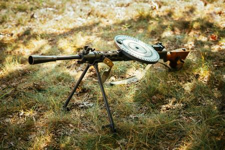 machine-gun: Soviet russian military ammunition - machine gun of World War II on ground.