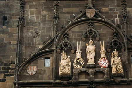 shield: Close up of wall of tower near Charles Bridge in Prague, Czech Republic Foto de archivo