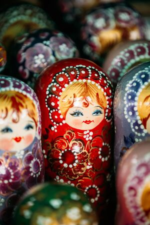 babushka: Colorful Russian Nesting Dolls Matreshka At Market. Matrioshka Babushka Are Most Popular Souvenir From Russia.