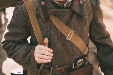 reenaction: Unidentified re-enactor dressed as Soviet soldier. Close up of soviet military decoration on uniform of a Russian soldier.