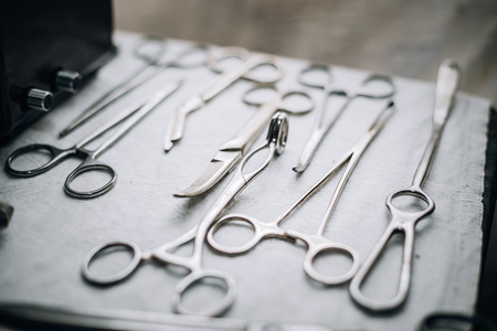 Old vintage medical and surgical instruments equipment 版權商用圖片