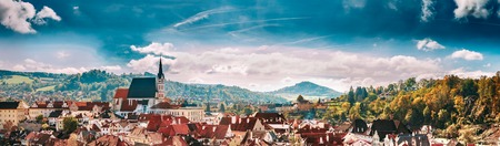 krumlov: Panoramic cityscape Cesky Krumlov, Czech republic. Sunny autumn day