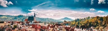 cityhall: Panoramic cityscape Cesky Krumlov, Czech republic. Sunny autumn day