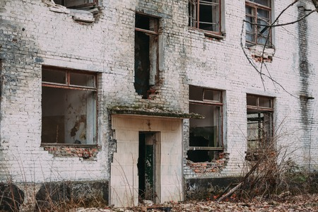 chernobyl: Facade of Old Abandoned Building.  Chernobyl Disasters.