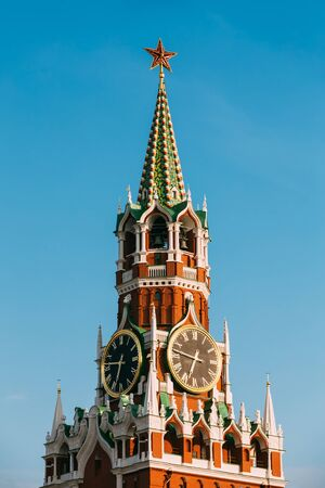 spasskaya: Detail of Spasskaya Tower of Kremlin on Red Square in Moscow, Russia Stock Photo