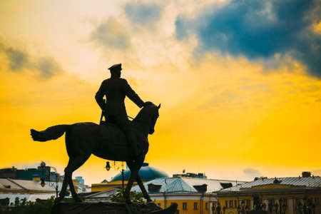 Silhouette of monument to Marshal Georgy Zhukov on red square in Moscow, Russia.