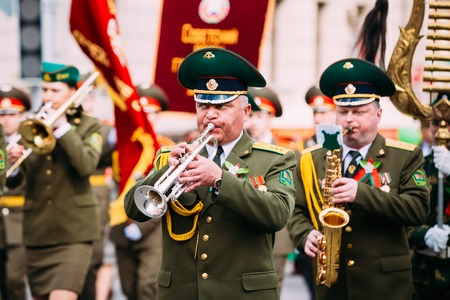 patriotic border: Gomel, Belarus - May 9, 2015: Orchestra of the Border Troops participating in the parade dedicated to the Victory Day - the 70th anniversary of the Victory in the Great Patriotic War