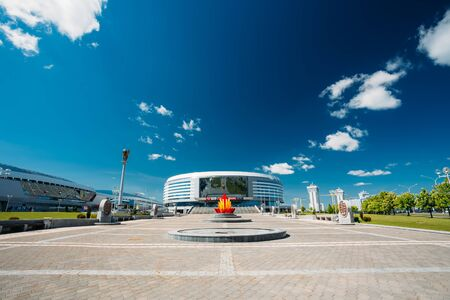 sports complex: MINSK, BELARUS - May 19, 2015: The building of the sports complex Minsk Arena in Minsk, Belarus.