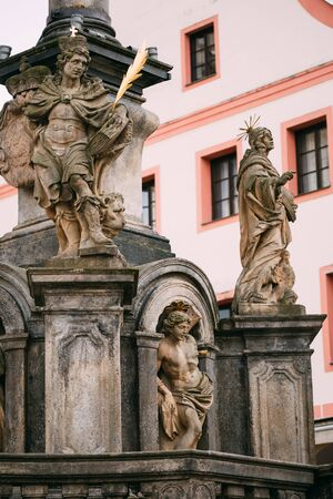 town square: Detail of the Column. Statue on main town square in Cesky Krumlove, Czech Republic Stock Photo