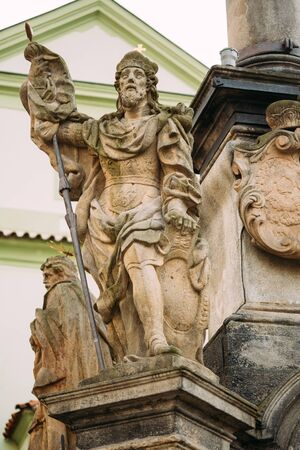 town square: Detail of the Column. Statue on main town square in Cesky Krumlov, Czech Republic
