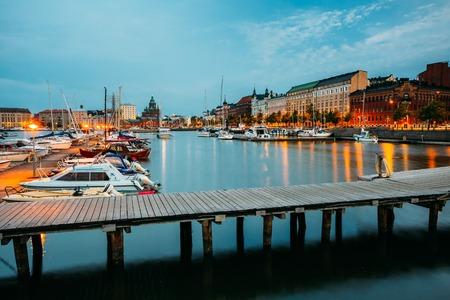 HELSINKI, FINLAND - JULY 28, 2014: Embankment In Helsinki At Summer Evening, Finland