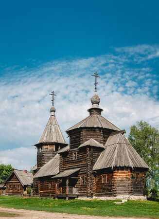 Traditional Russian Wooden Church Of The Resurrection From Village Of Patakino, Transported In Suzdal - A Monument Of Wooden Architecture Of The Xviii Century. Golden Ring Of Russia.