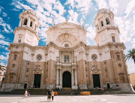 famous people: Cadiz, Spain - June 21, 2015: People walking near Cathedral in Cadiz, Spain. Sunny day. It was built between 1722 and 1838. Editorial