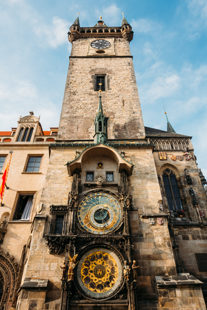 Tower of town hall with astronomical clock - orloj in Prague, Czech Republic Stock Photo