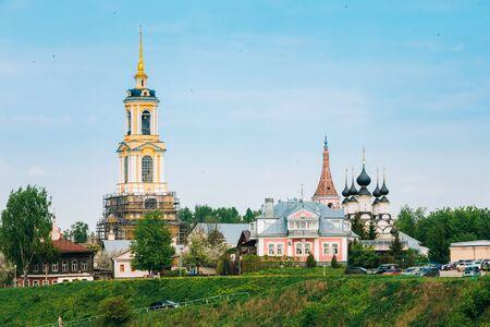 golden ring: Russian churches in summer landscape in Suzdal, Russia. Golden Ring of Russia