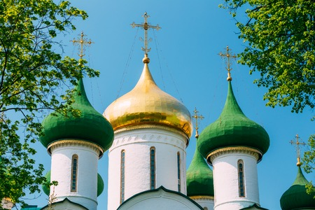 Close up of Transfiguration Cathedral in Monastery of Saint Euthymius in Suzdal, Russia. The monastery was founded in the 14th century