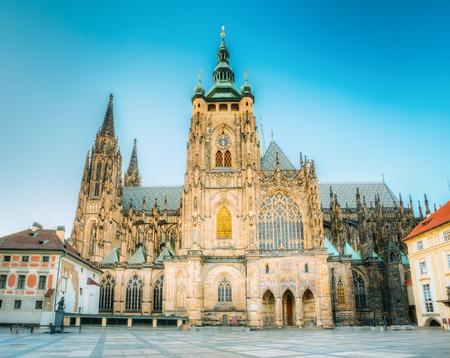 vitus: Famous St. Vitus Cathedral Prague, Czech Republic. Sunny evening Stock Photo