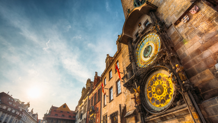 Tower of town hall with astronomical clock - orloj in Prague, Czech Republic 스톡 콘텐츠