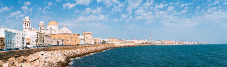 Panoramic view of ancient Cadiz city in southern Spain. Cadiz Cathedral and old town. Stock Photo