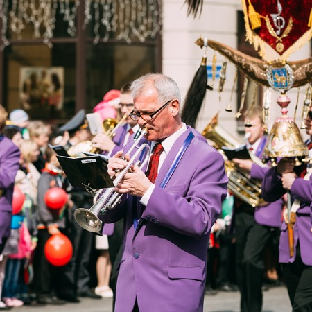 brass  band: Gomel, Belarus - May 9, 2015: Man from city Brass Band Orchestra participating in the parade dedicated to the Victory Day - the 70th anniversary of the Victory in the Great Patriotic War