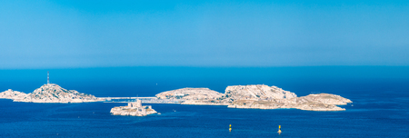 monte cristo: Panorama, Aerial view, seascape of Castle of If in Marseilles, France. Sunny summer day with bright blue sky. Stock Photo