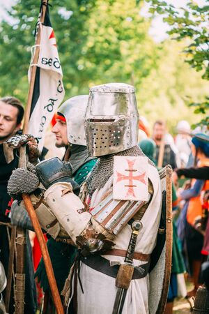 ancient warrior: MINSK, BELARUS - JULY 19, 2014: Warrior Knight participant of estival of medieval culture