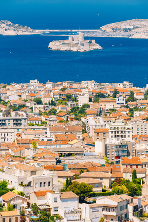 castle if: Aerial view, cityscape of If Castle in Marseilles, France. Sunny summer day with bright blue sky. Stock Photo