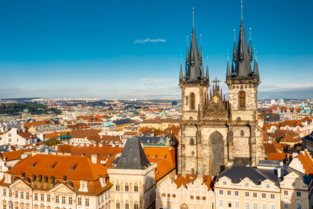 tyn: Famous scene, cityscape of Prague, Czech Republic. Towers of Church Of Our Lady Before Tyn In Old Town Square. Stock Photo
