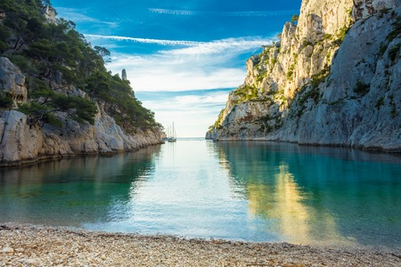 azure coast: Beautiful nature of Calanques on the azure coast of France. Coast En Vau near in South France.