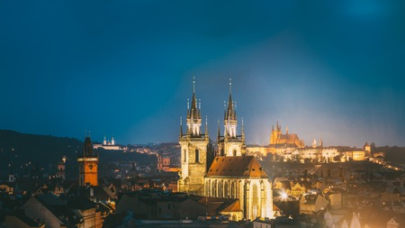 old town hall: Night cityscape of Prague, Czech Republic. Famous Old town hall, Church Of Our Lady Before Tyn, St. Vitus Cathedral. Panorama of Prague, Czech Republic