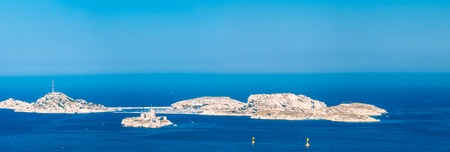 castle if: Panorama, Aerial view, seascape of Castle of If in Marseilles, France. Sunny summer day with bright blue sky. Stock Photo