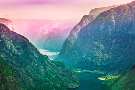 sognefjord: Amazing nature of the Norwegian mountains. Nature of Norway. Toned photo. Travel and hiking concept. Sognefjord Stock Photo