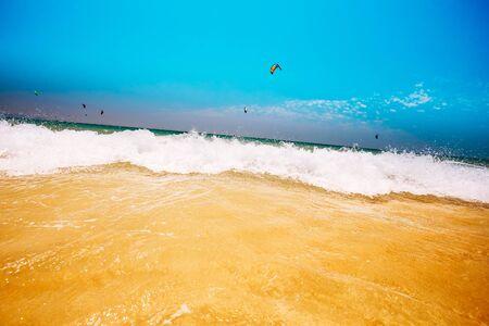ocean waves: Fresh Sea Ocean Waves washing yellow sand beach.