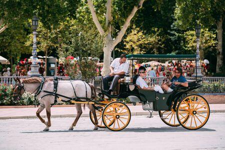 horse drawn carriage: Seville, Spain - June 24, 2015: Horse drawn carriage in Plaza de Espana in Seville, Andalusia, Spain. Spain Square.