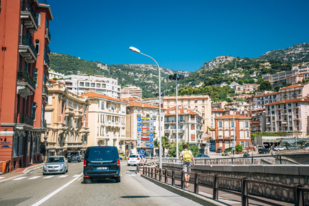 monte carlo: Monte-Carlo, Monaco - June 28, 2015: Traffic on streets of Monaco, Monte Carlo.