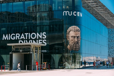 civilizations: Marseille, France  - June 30, 2015: MUCEM is modern building of Museum of European and Mediterranean Civilizations