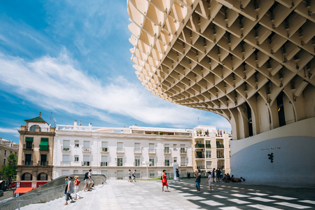 metropol parasol: Seville, Spain - June 24, 2015: Metropol Parasol is a large wooden structure located Plaza de la Encarnacion square, in old quarter of Seville, Spain