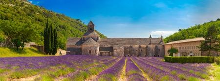 abbaye: Beautiful landscape lavender field and an ancient monastery Abbaye Notre-Dame de Senanque in Vaucluse, France. Abbey