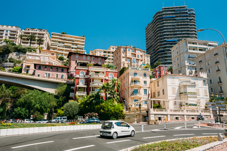montecarlo: Monte-Carlo, Monaco - June 28, 2015: Movement of vehicles on street city in Monaco, Monte Carlo. Editorial