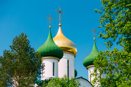 14th century: Close up of Transfiguration Cathedral in Monastery of Saint Euthymius in Suzdal, Russia. The monastery was founded in the 14th century