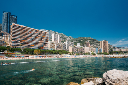 monte carlo: Scenic view of beach of city of Monte Carlo, Monaco. Sunny summer day.