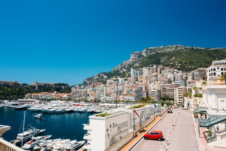 monte carlo: City Pier, Jetty In Sunny Summer Day. Monaco, Monte Carlo architecture.