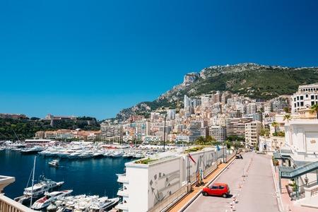 monte carlo: City Pier, Jetty In Sunny Summer Day. Monaco, Monte Carlo architecture.