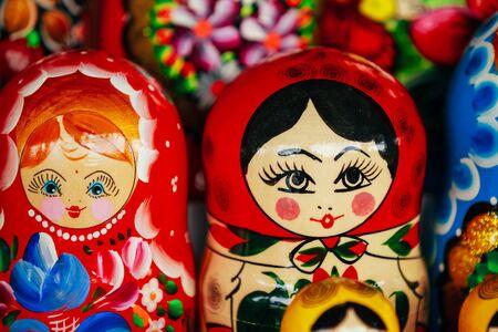 matrioshka: Colorful Russian Nesting Dolls Matreshka At Market. Matrioshka
