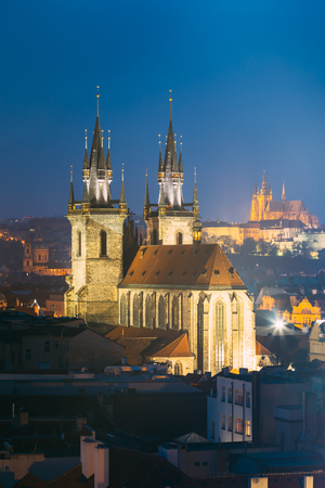 Night cityscape of Prague, Czech Republic. Famous Church Of Our Lady Before Tyn. Stock Photo