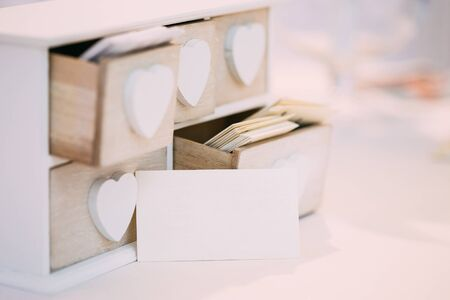 White Vintage Decorative Wooden Box Casket for Visiting Cards with Paper Empty, Blank Visiting Card