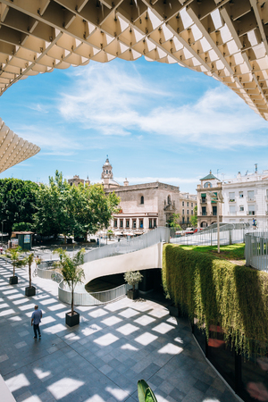 metropol parasol: Seville, Spain - June 24, 2015: Metropol Parasol is a wooden structure located Plaza de la Encarnacion square, in old quarter of Seville, Spain