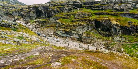 Panorama Of Norwegian Mountains Landscape. Nature of Norway. Travel and Hiking. Amazing Scenic View. Nobody. Scandinavia.